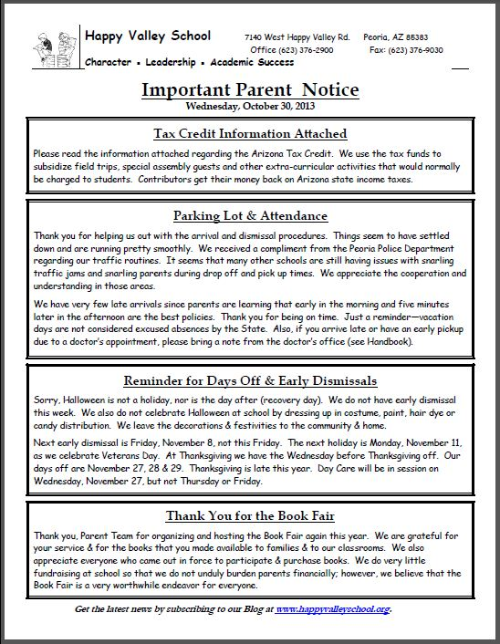 Important Parent Notice - 10.30.13