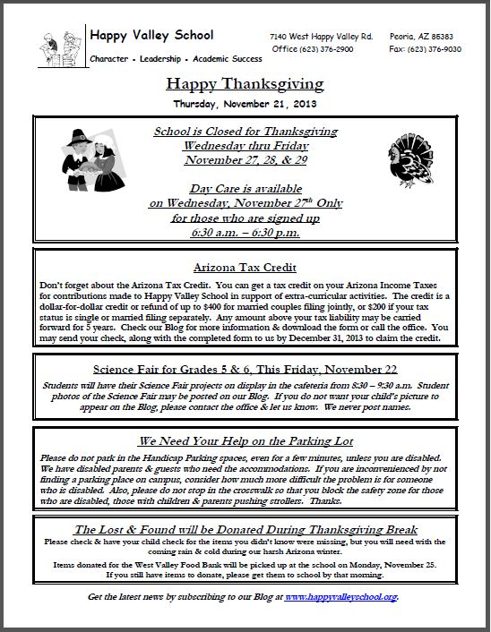 Thanksgiving Notice - 11.21.13