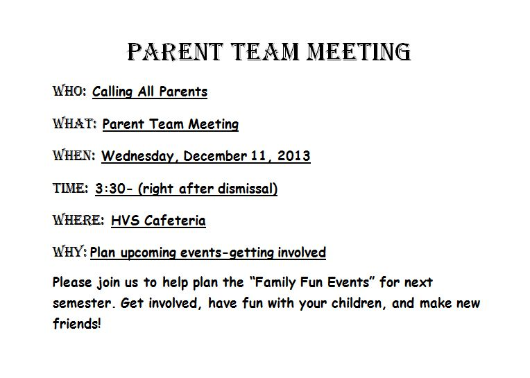 Parent Team Meeting