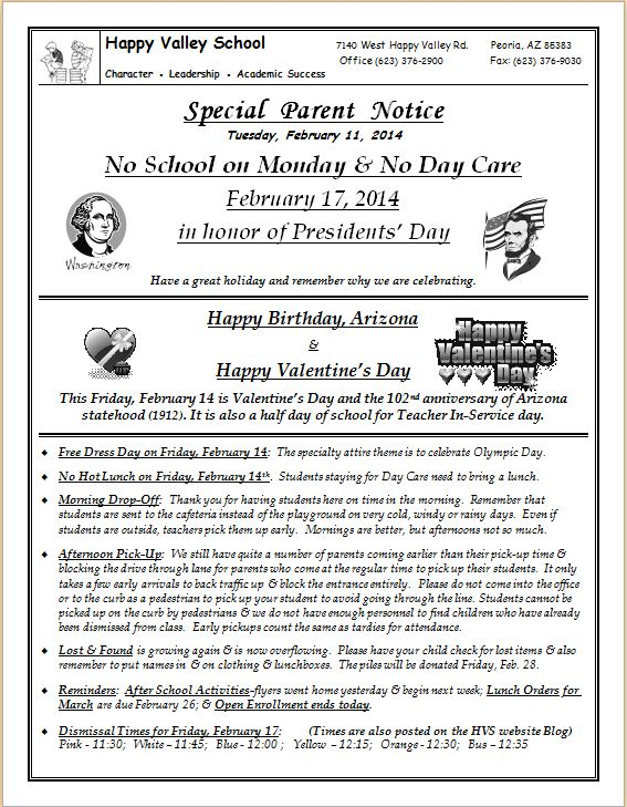 Special Parent Notice