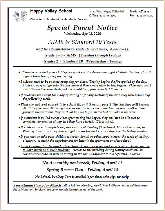 Special Parent Notice - 04.02.14