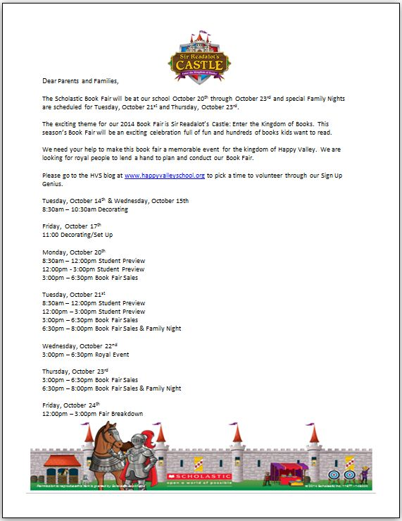 Book Fair Volunteer Letter