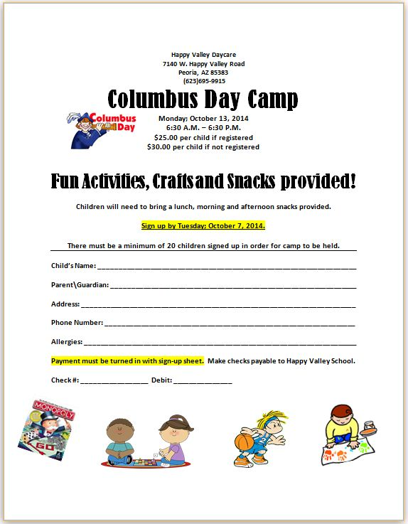 Columbus Day Camp