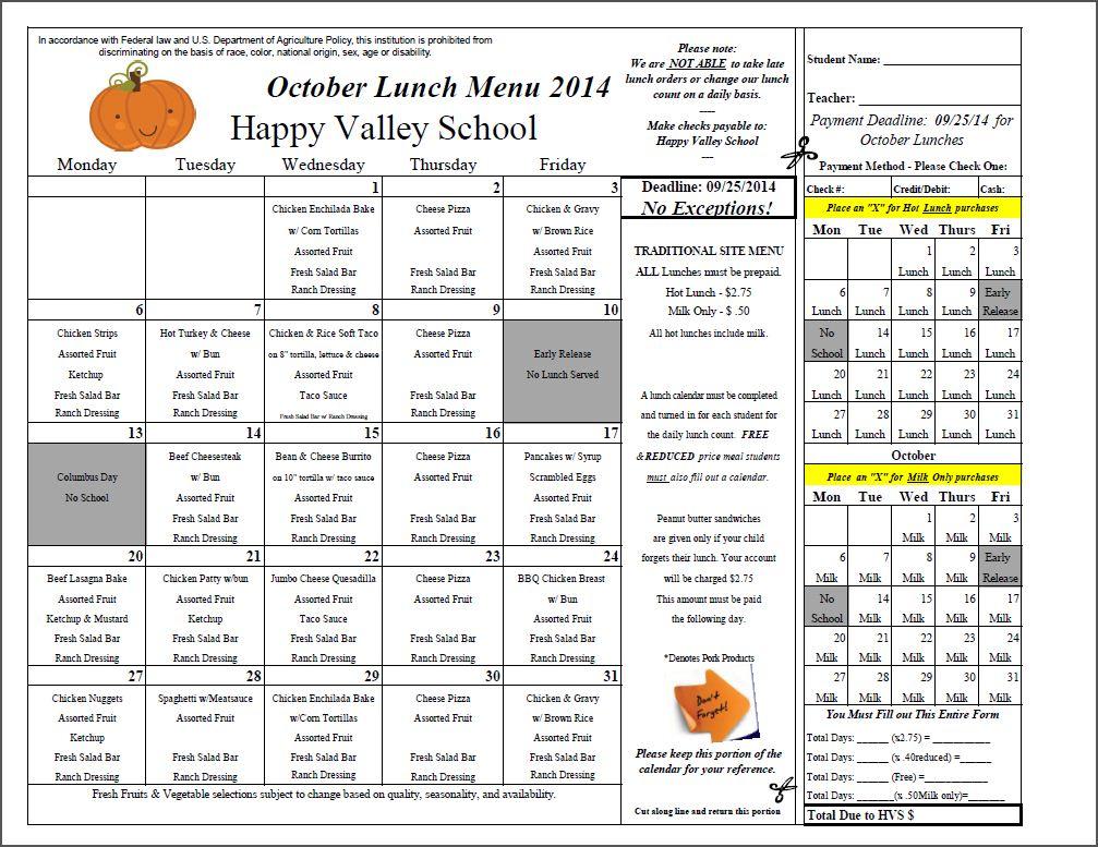 October Lunch Menu 2014