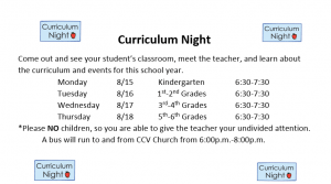 Curriculum night 2nd