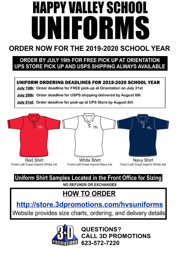 Uniform Purchase Information | Happy Valley School